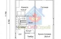 Проект дома из СИП панелей Зельва-2 - МосСипСтрой (изображение 1)